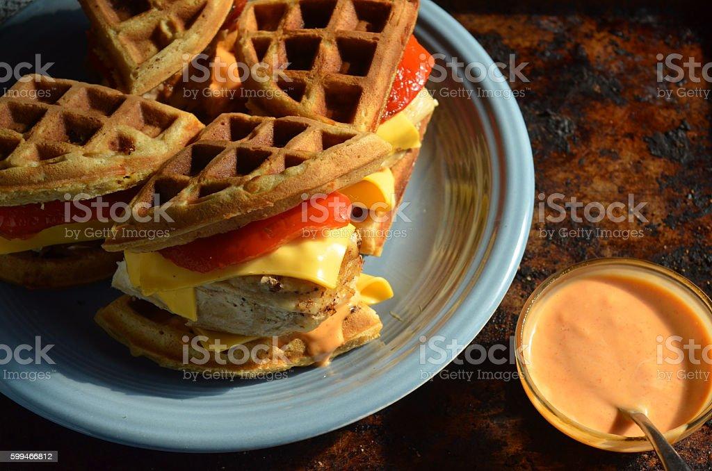 Savory waffle chicken breast sandwiches stock photo