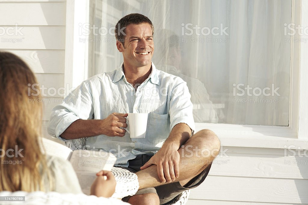 Savouring good company and great coffee royalty-free stock photo