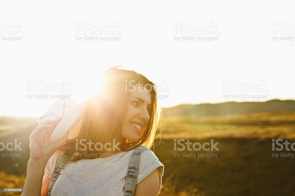 Savouring the summer sun stock photo