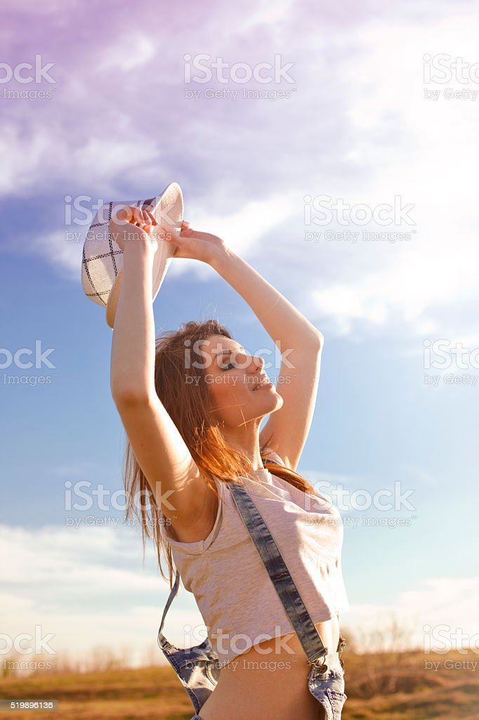 Savouring the summer sun stock photo