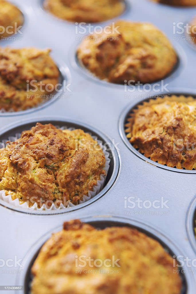Savoury muffins in muffin tin royalty-free stock photo