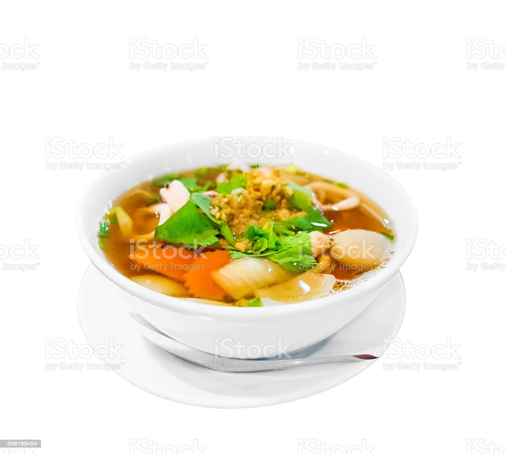 Savoury thick soup on white background stock photo