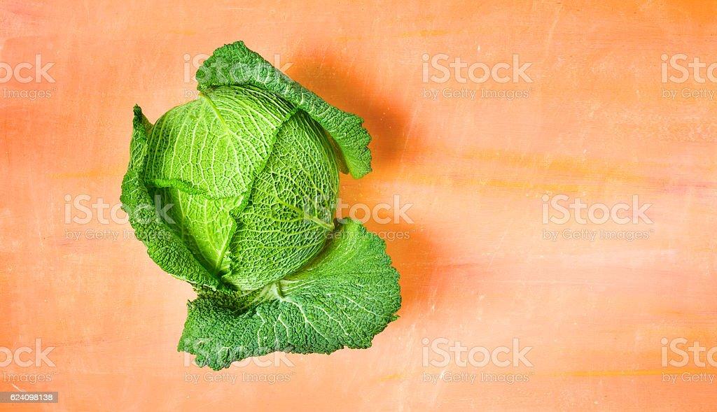 savoy cabbage, flat lay stock photo