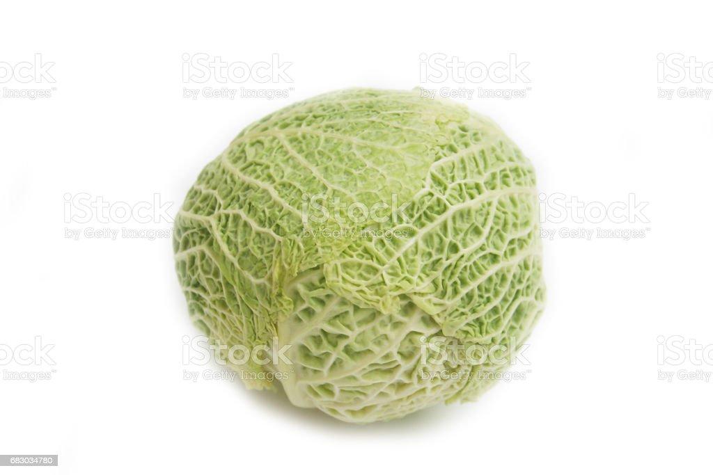 Savoy cabbage isolated on white background stock photo