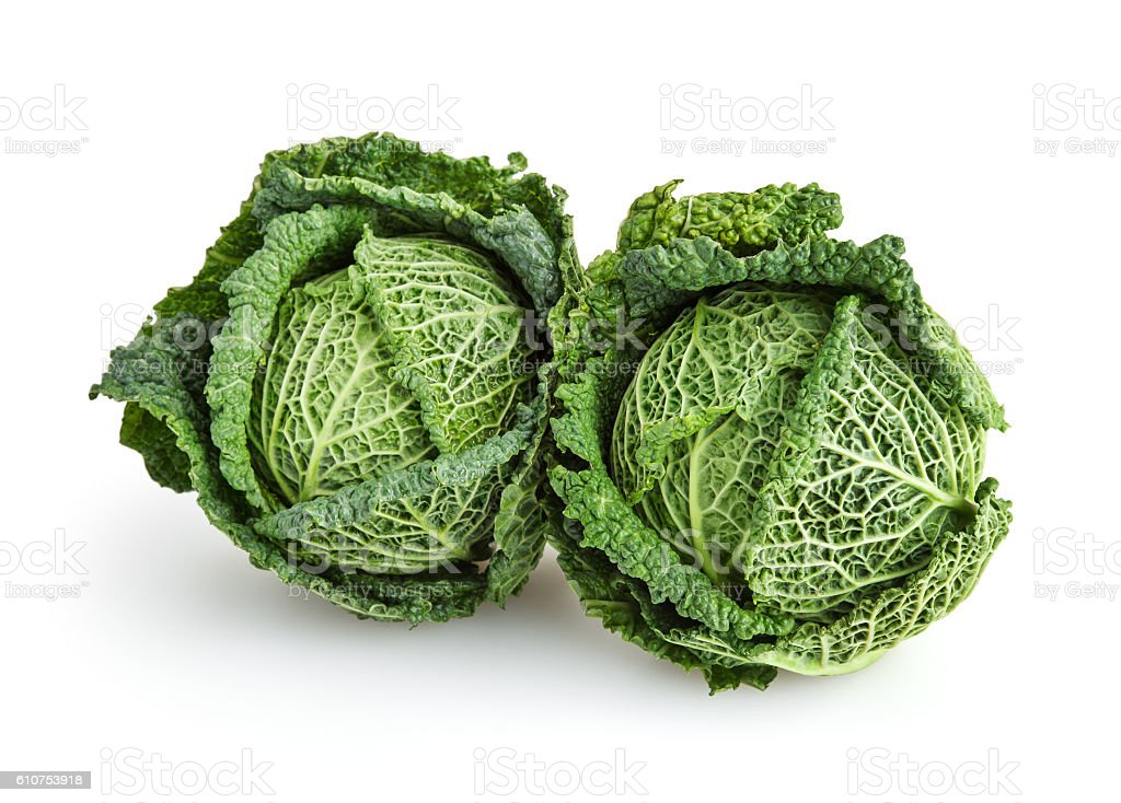 Savoy cabbages isolated on white background with clipping path stock photo