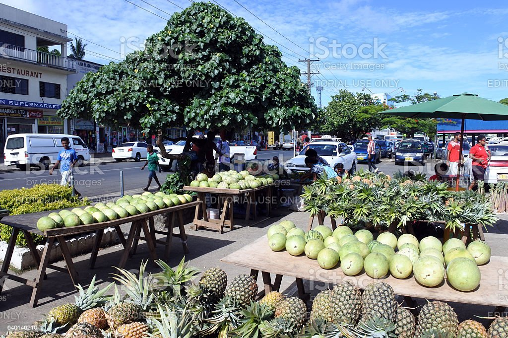 Savusavu Fiji Tropical Fruit Vegetable and Fish Market stock photo