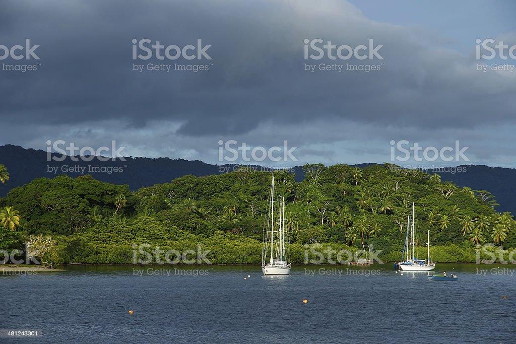 Savusavu harbor, Vanua Levu island, Fiji stock photo