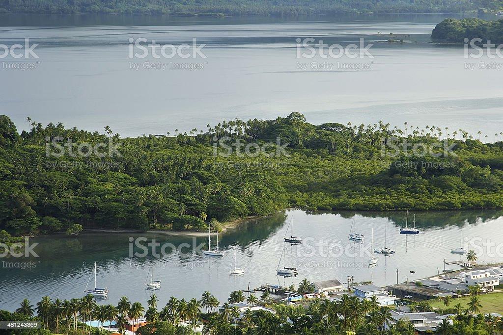 Savusavu marina and Nawi islet, Vanua Levu island, Fiji stock photo
