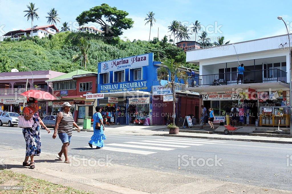 Savusavu town main street Vanua Levu Fiji stock photo
