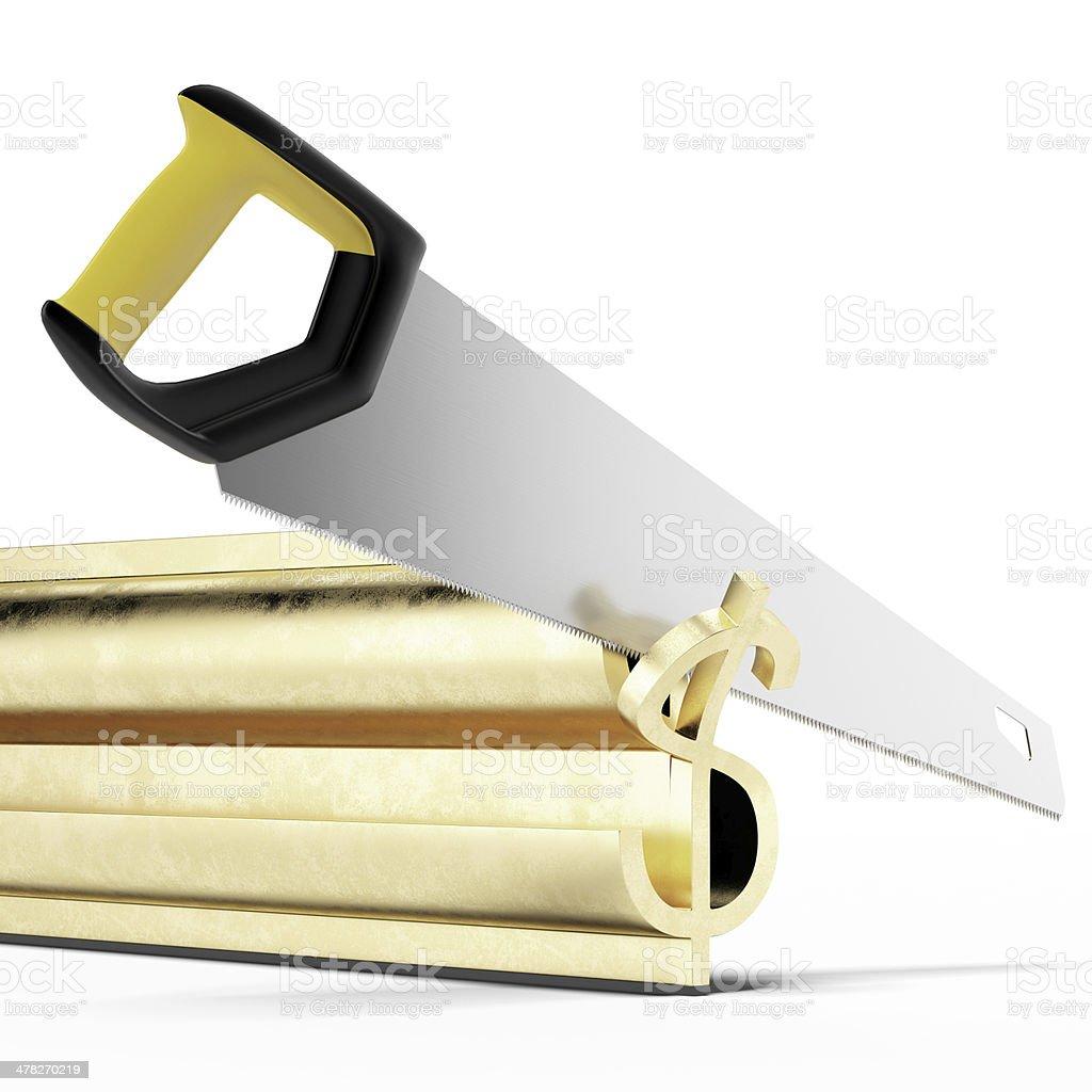 Saw cut gold dollar symbol royalty-free stock photo
