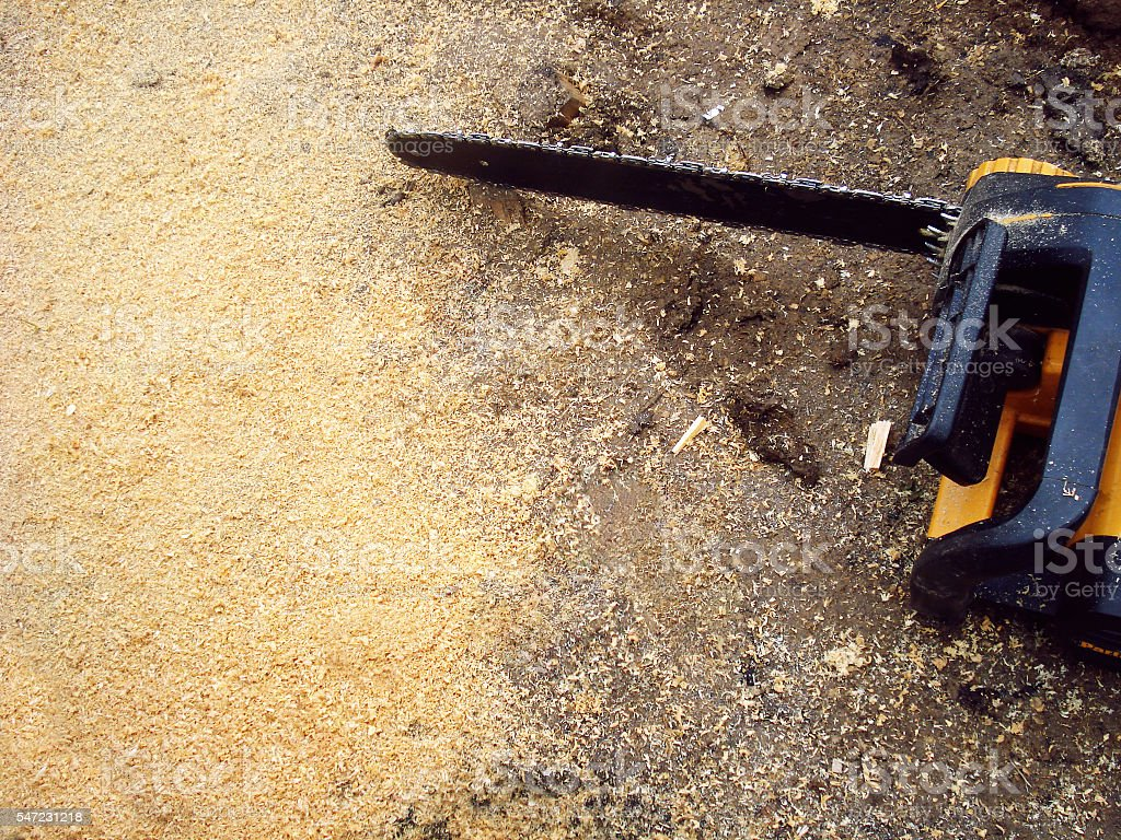 saw is close to sawdust stock photo