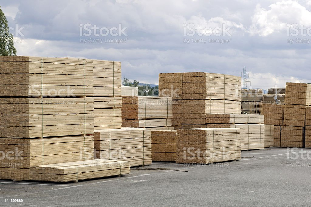 Saw mill - finished lumber against sky stock photo