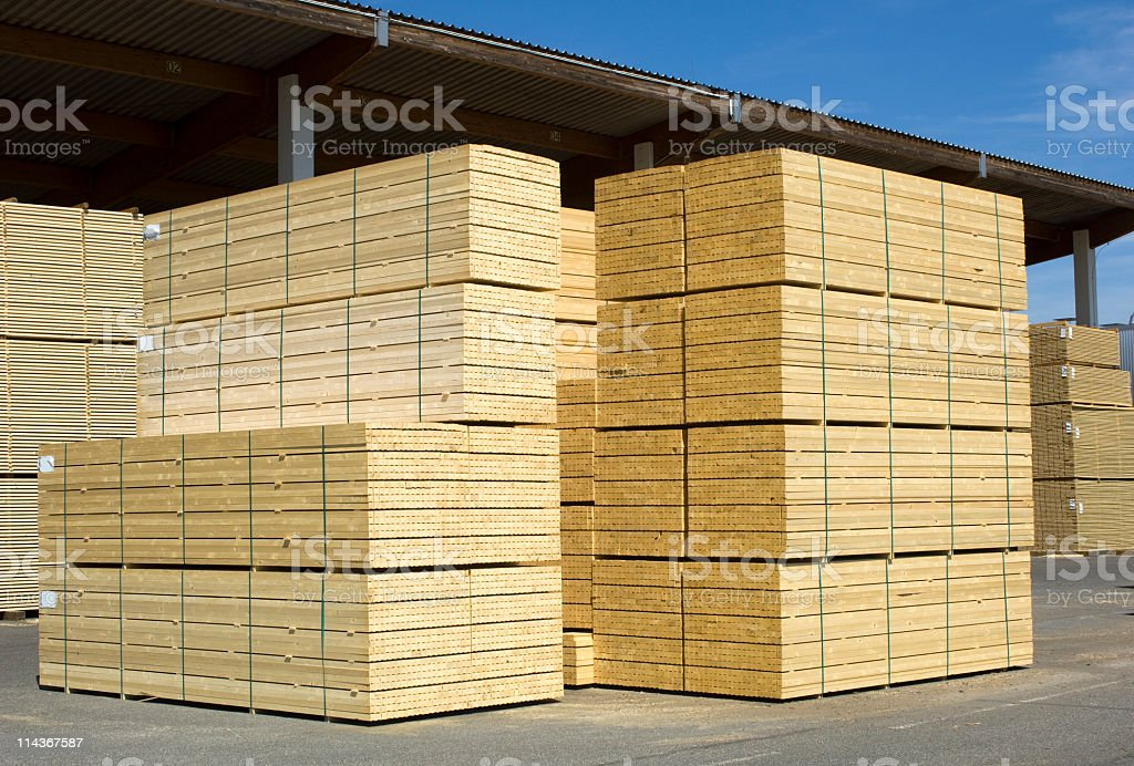 Saw mill - finished lumber. stock photo