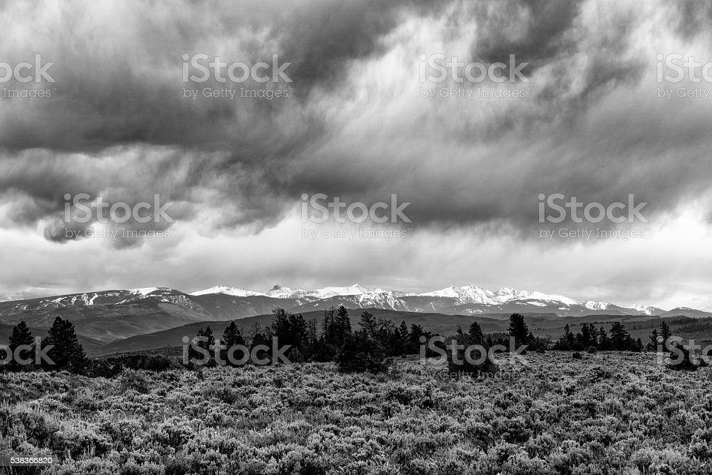 Sawatch Range with Storm Clouds stock photo