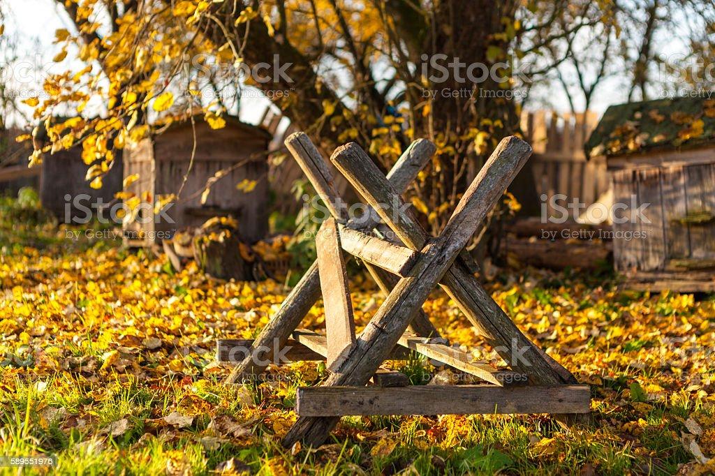 Sawbuck in backyard stock photo