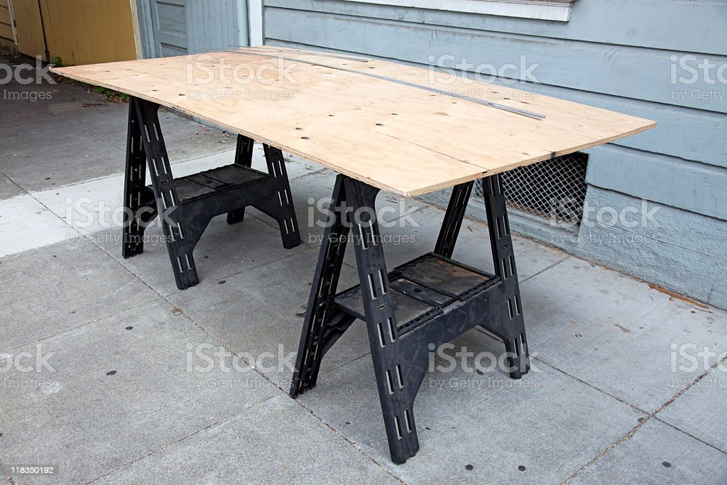 Sawhorse and Plywood stock photo
