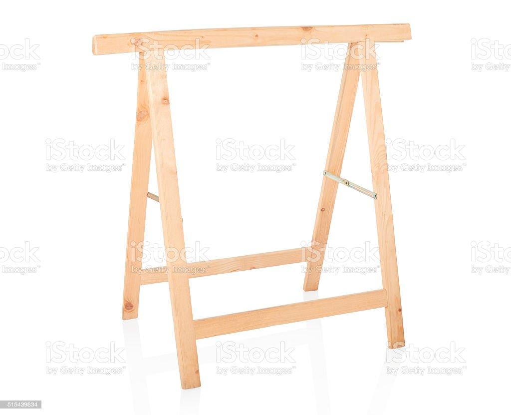 Sawhorse, DIY wooden tool on white stock photo