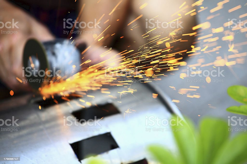 Sawing Sparks royalty-free stock photo