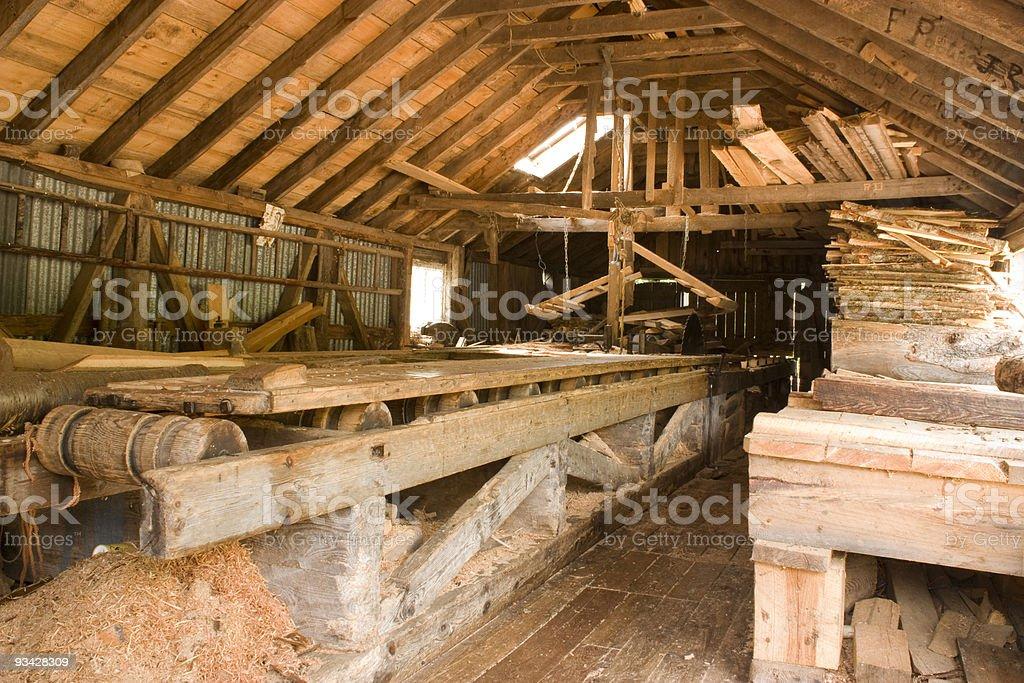 Sawmill, internal view stock photo