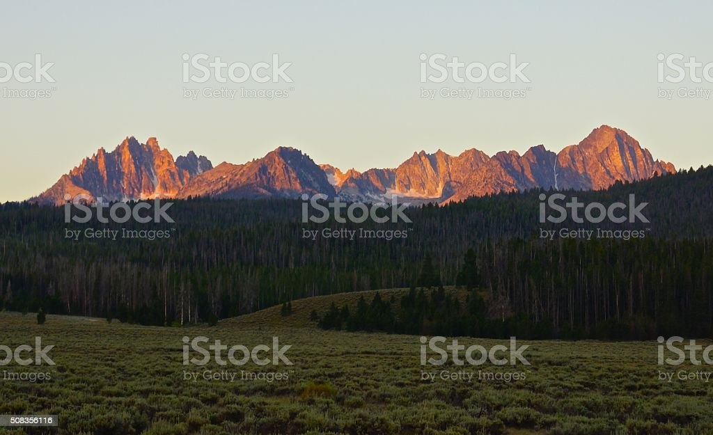 Sawtooth Fire Ridge stock photo