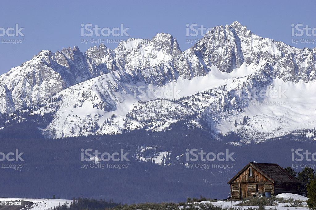 Sawtooth Mountain Cabin stock photo