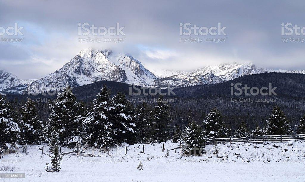 Sawtooth Mountain Range Deep Winter Landscape Idaho National Recreation Area stock photo