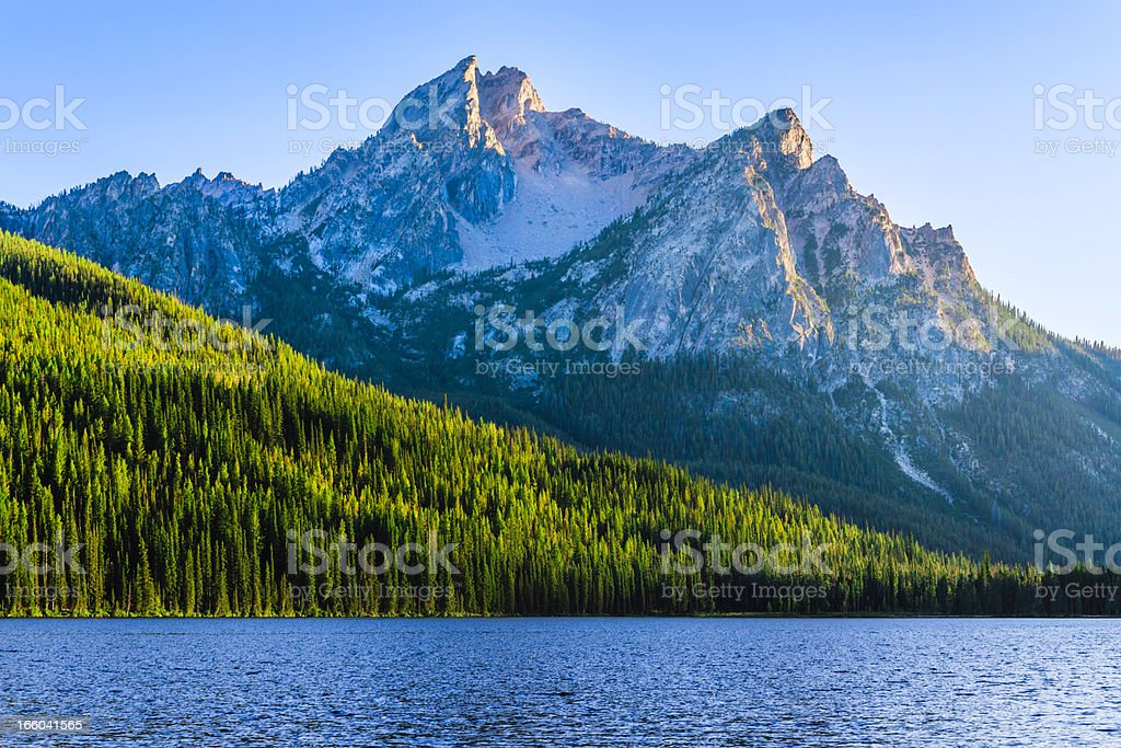 Sawtooth Mountains and Stanley Lake stock photo