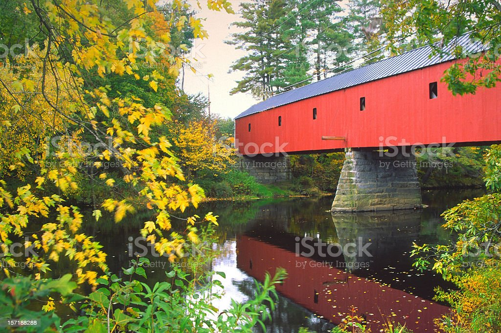 Sawyers Crossing Covered Bridge in New Hampshire stock photo