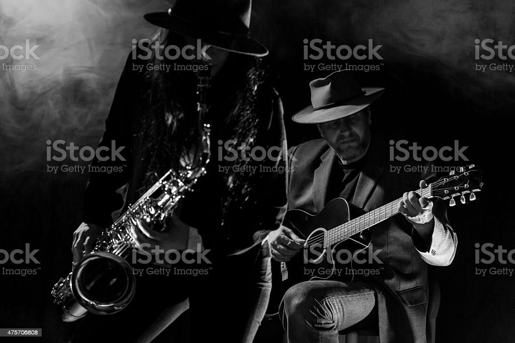 Sax and Guitar stock photo
