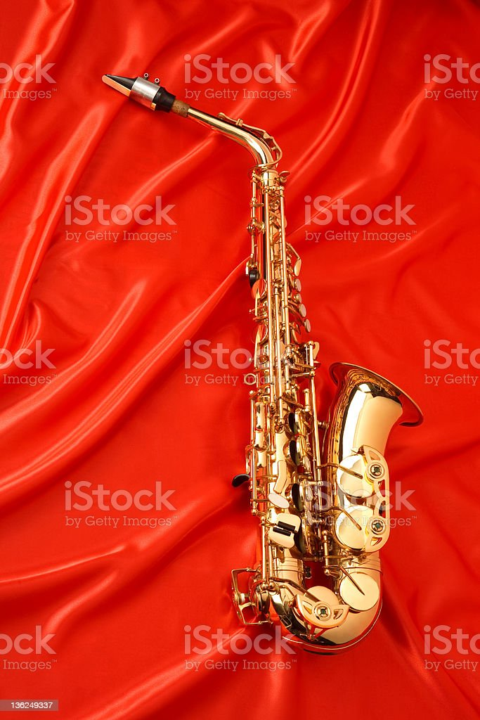 Sax on red royalty-free stock photo