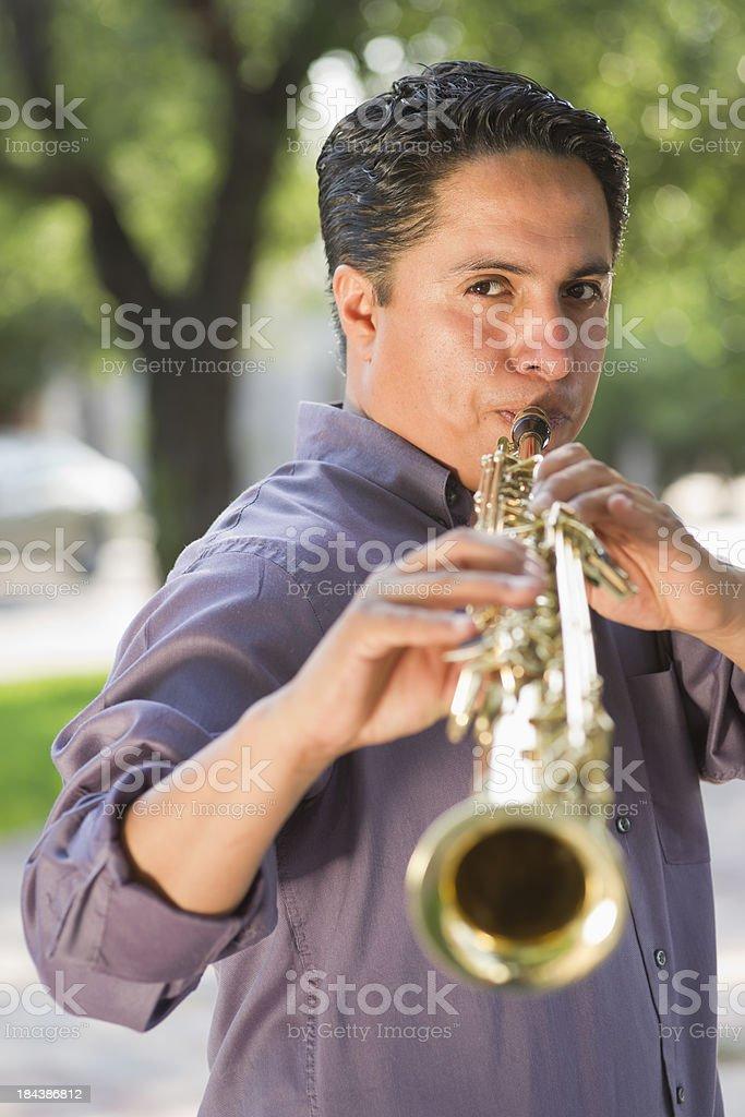 Sax Player stock photo