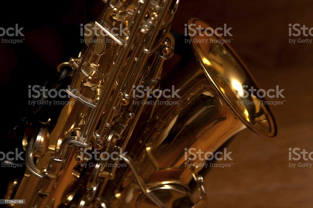 Saxaphone Closeup, Wood Background royalty-free stock photo
