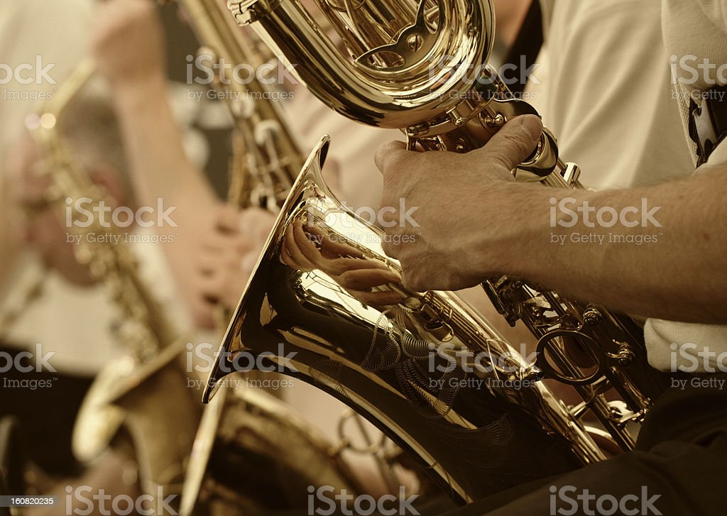Saxaphone player stock photo