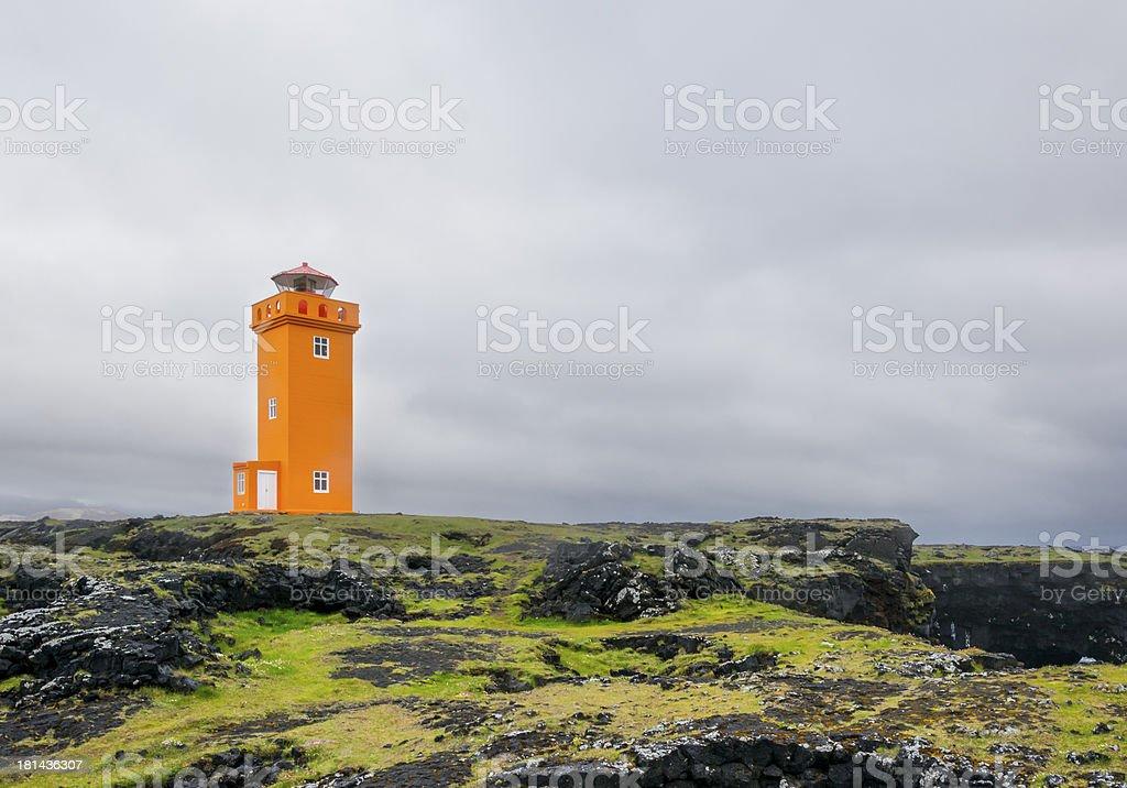 Saxholsbjarg orange lighthouse in Iceland royalty-free stock photo