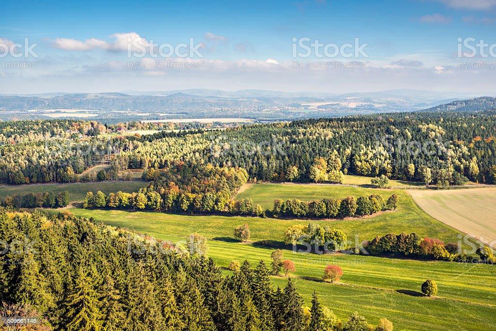 Saxon Switzerland autumn landscape stock photo