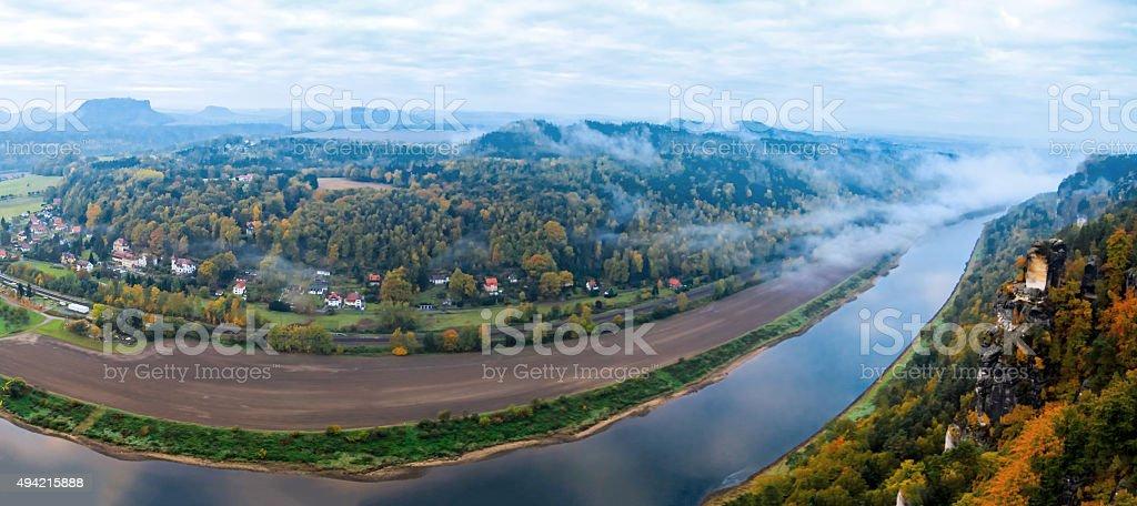 Saxon Switzerland. Elbe river view from castle Koenigstein stock photo