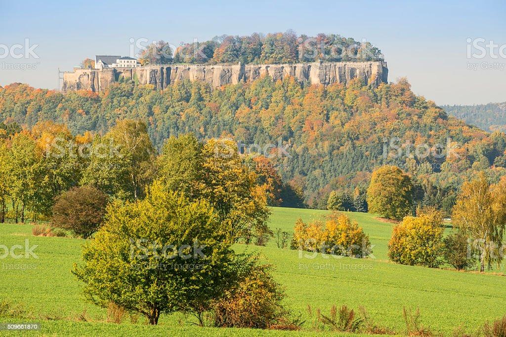 Saxon Switzerland fortress Konigstein stock photo