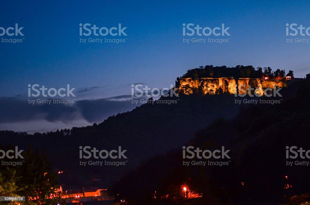 Saxon Switzerland, rocks Lilienstein, fortress Koenigstein stock photo
