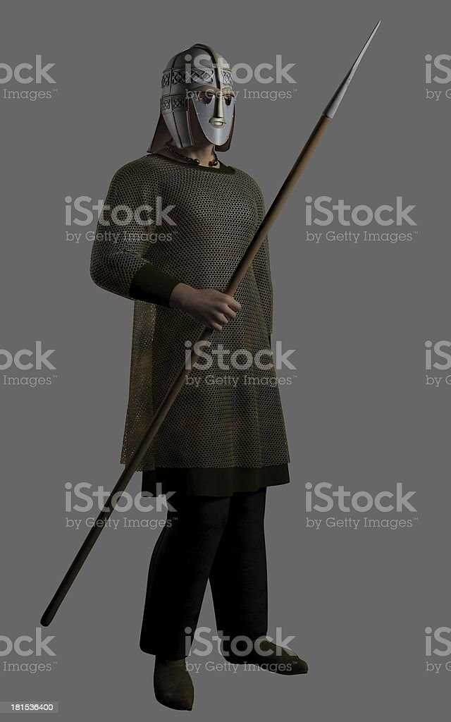 Saxon Warrior Chieftain with Spear stock photo