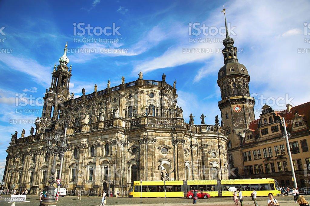 Saxony Dresden Castle and Katholische Hofkirche in Dresden Germany stock photo