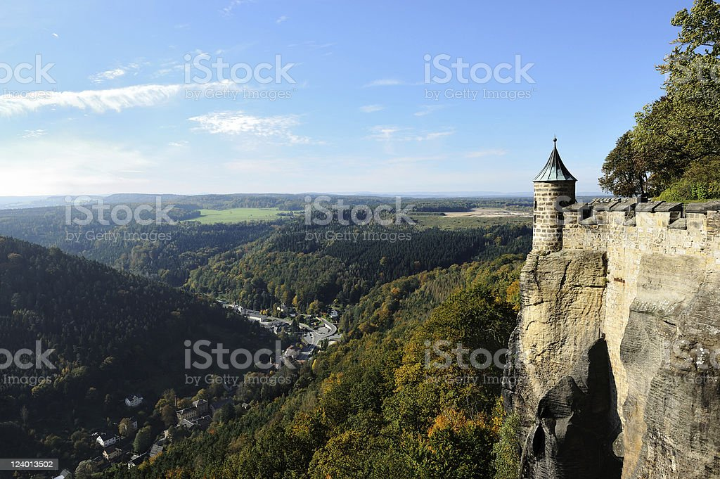 Saxony Stronghold K?nigsstein near Dresden Fall View stock photo
