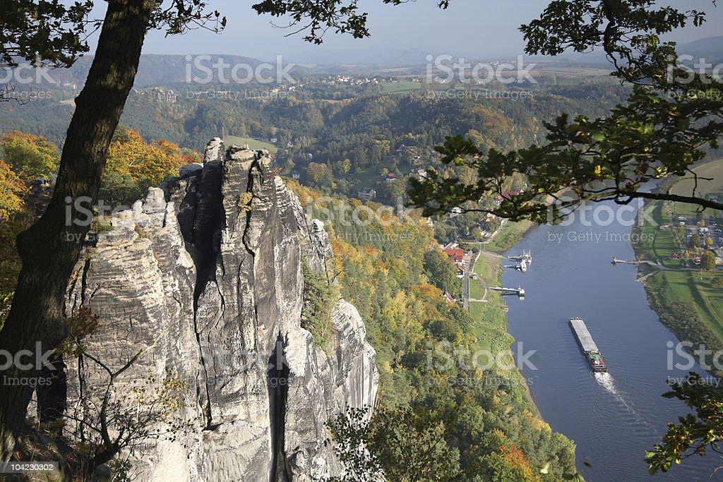 Saxony Switzerland View Bastei Rock with River Elbe royalty-free stock photo