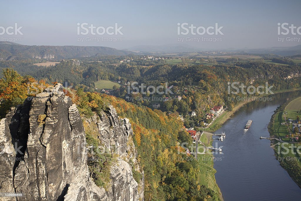 Saxony Switzerland View from Bastei Rock to River Elbe stock photo