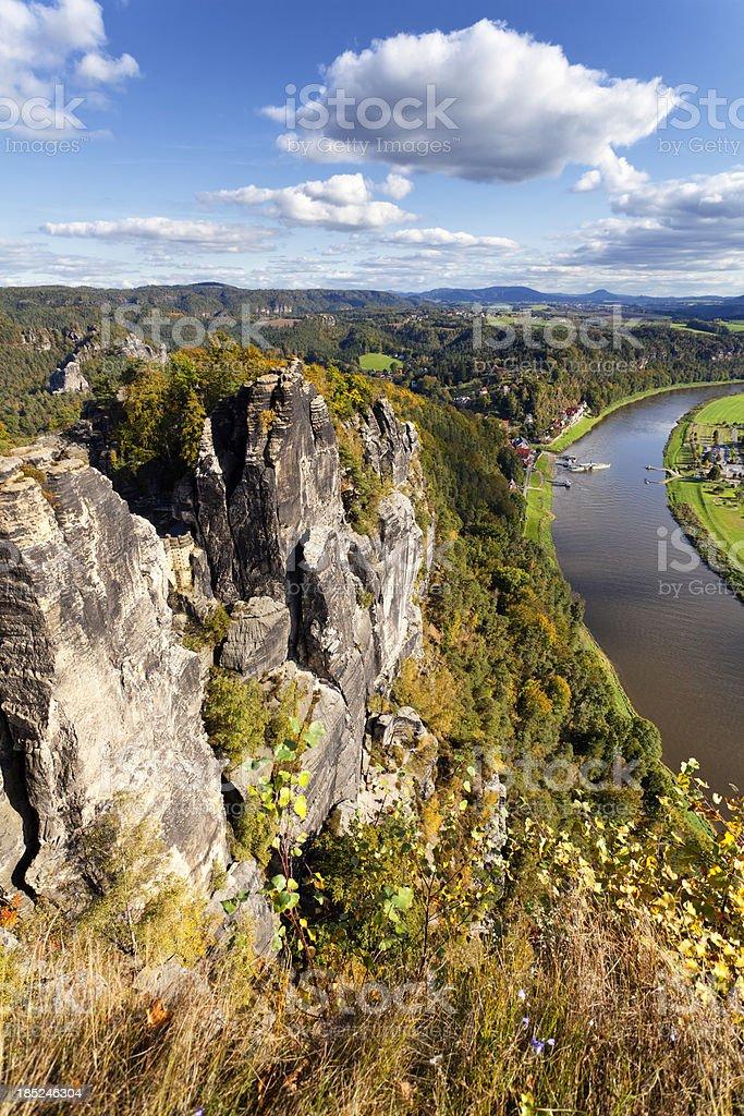 saxony switzerland view from the Bastei stock photo