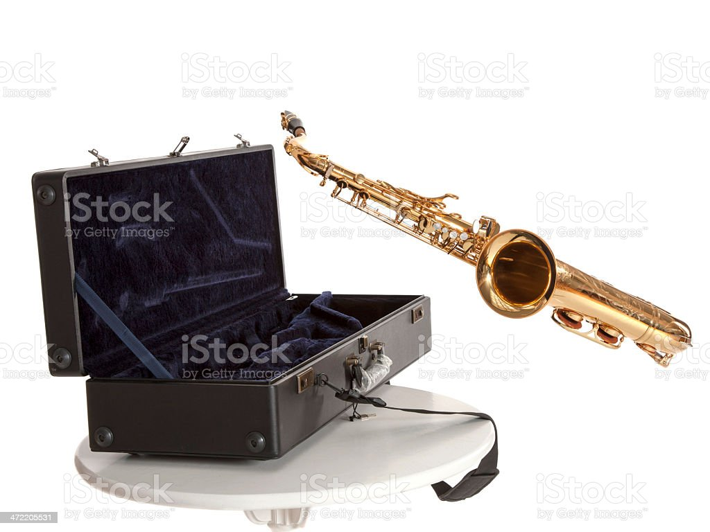 saxophone and box royalty-free stock photo