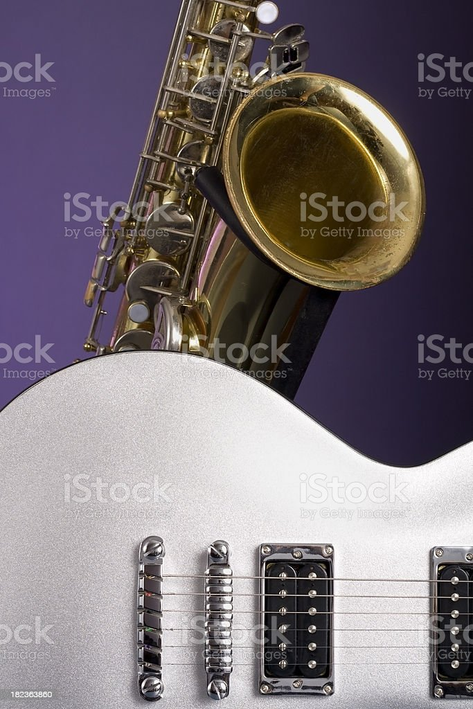 Saxophone and Guitar stock photo