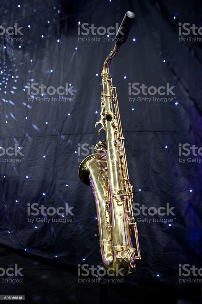 Saxophone and stars stock photo