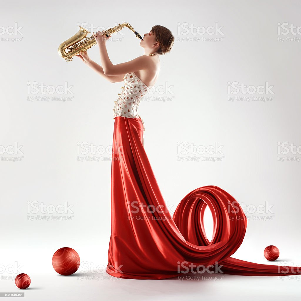 Saxophone beauty stock photo