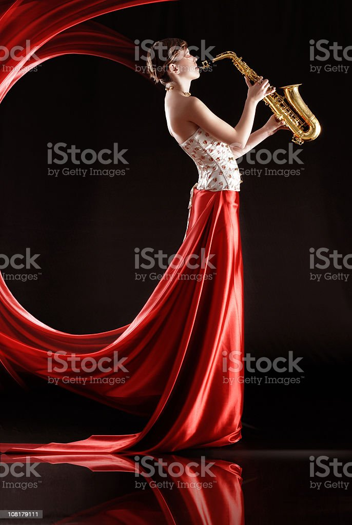 Saxophone Diva stock photo