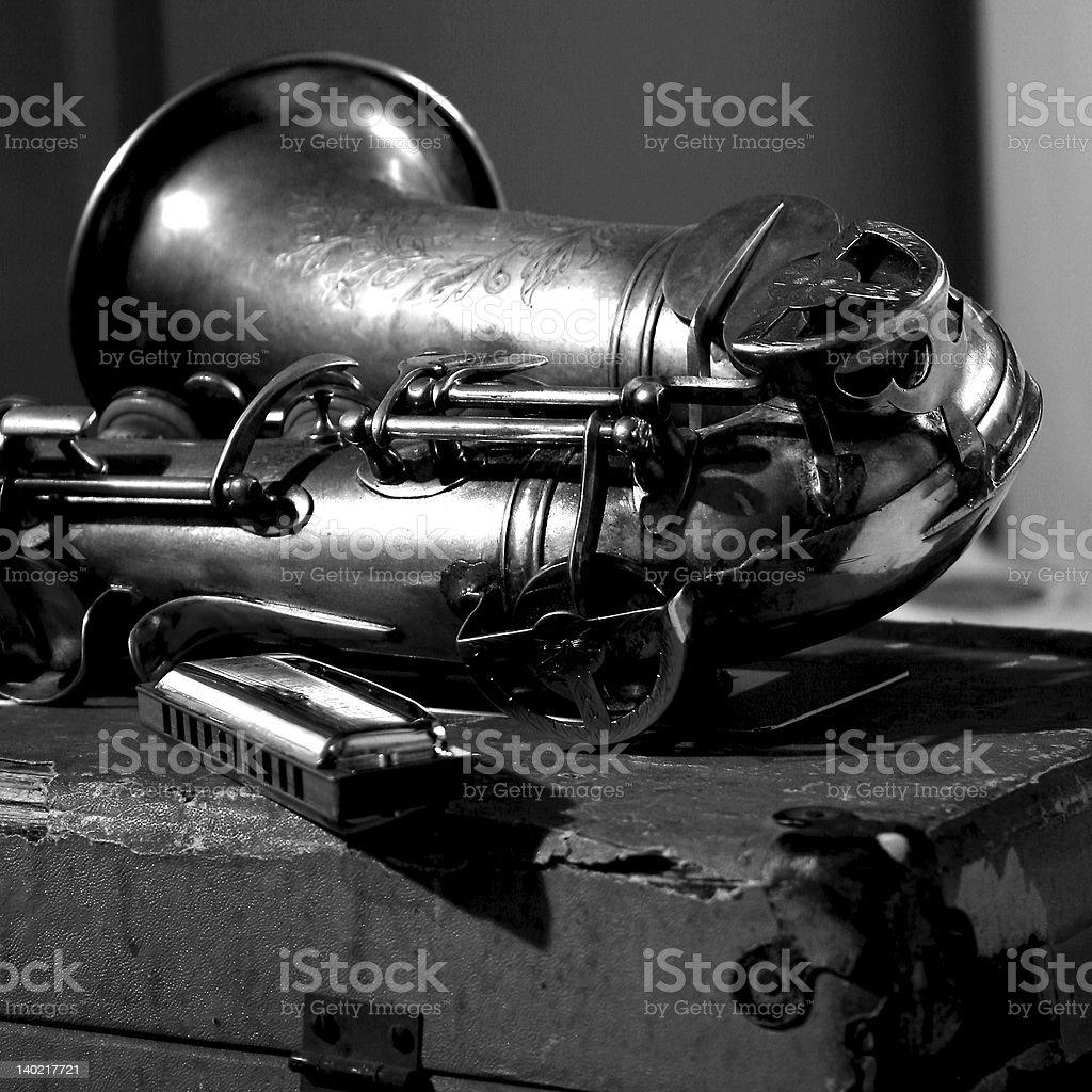 saxophone, harp, blues and jazz music instruments stock photo